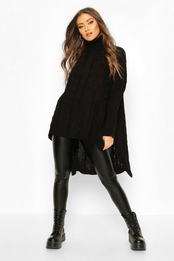 Black Oversized Cable Knit Roll Neck Jumper
