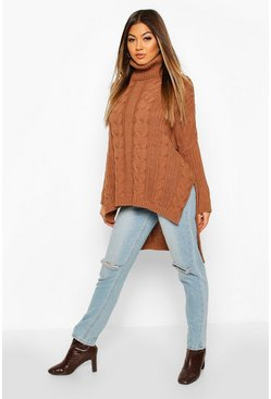 Chocolate Oversized Cable Knit Roll Neck Jumper