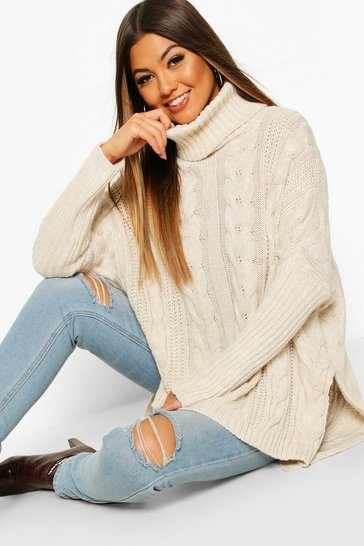 Womens Stone Oversized Cable Knit Roll Neck Jumper