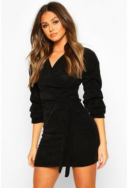 Black Knitted Ruched Sleeve Belted Midi Dress