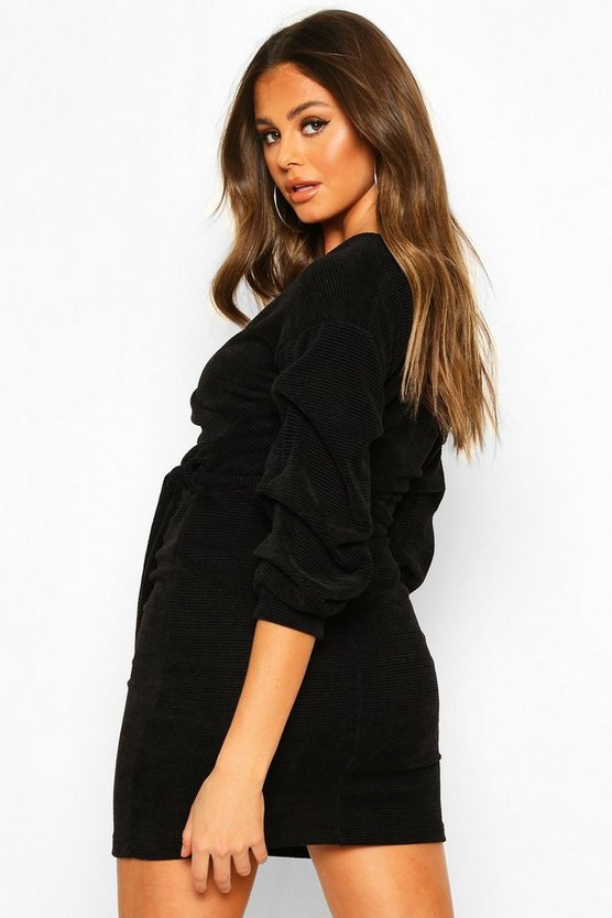 Knitted Ruched Sleeve Belted Midi Dress