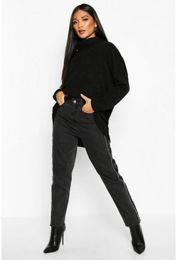 Womens Black Oversized Roll Neck Chenille Jumper