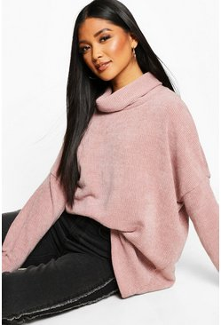 Womens Nude Oversized Roll Neck Chenille Jumper
