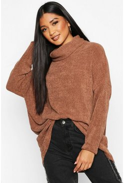 Womens Toffee Oversized Roll Neck Chenille Jumper