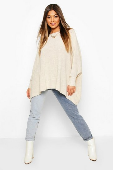 Womens Stone Oversized Rib Knit Jumper
