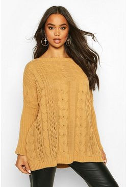 Camel Oversized Cable Knit Jumper