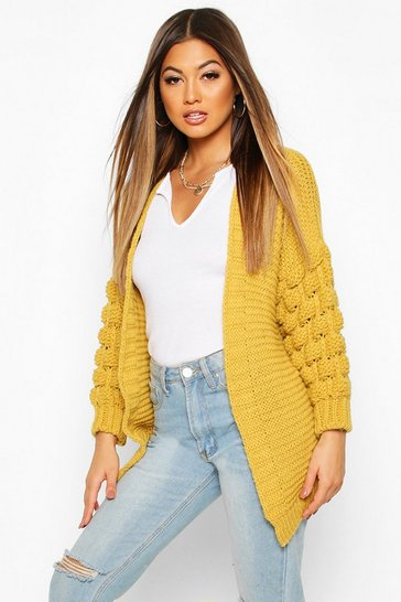 Womens Mustard Premium Bobble Knit Cardigan