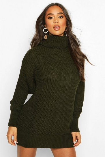 Womens Khaki Oversized Rib Knit Roll Neck Dress