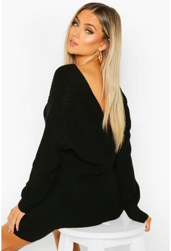 Black Knitted Twist Back Dress