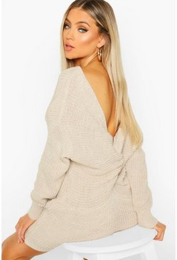 Stone Knitted Twist Back Dress