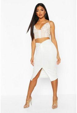 Womens Ivory Twist Split Midi Skirt