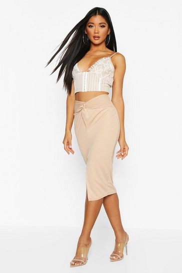 Womens Stone Twist Split Midi Skirt