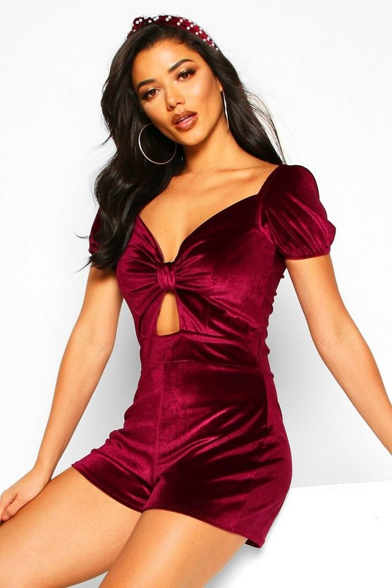 Velvet Bow Front Puff Sleeve Playsuit