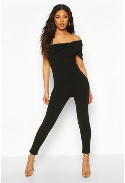 Black Off the Shoulder Bow Detail Jumpsuit