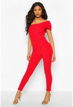 Red Off the Shoulder Bow Detail Wide Leg Jumpsuit