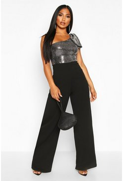 Silver Bow Detail Wide Leg Jumpsuit