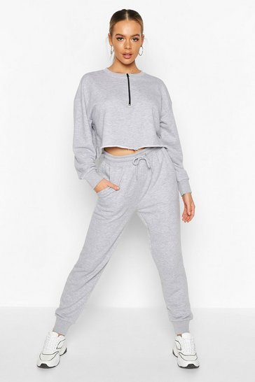 Womens Grey Zip Detail Sweat Jogger Tracksuit