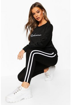 Black Woman Sweat & Legging Tracksuit Set