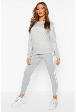 Grey Woman Sweat & Legging Tracksuit Set