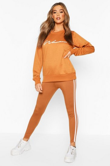 Womens Tan Woman Sweat & Legging Tracksuit Set