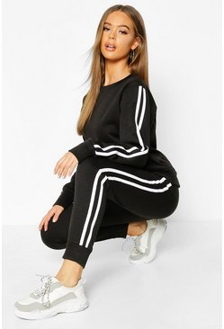 Womens Black Fleece Side Stripe Tracksuit Set