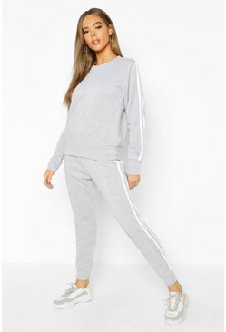 Grey Fleece Side Stripe Tracksuit Set