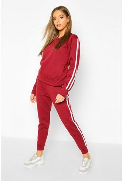 Womens Wine Fleece Side Stripe Tracksuit Set