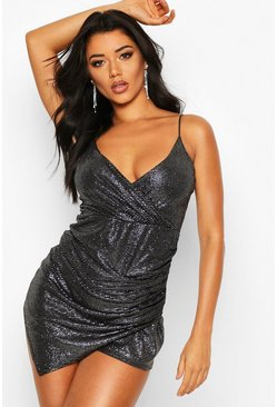 Womens Black Glitter Ruched Wrap Skort Playsuit