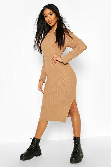 Camel Knitted Rib Midi Dress