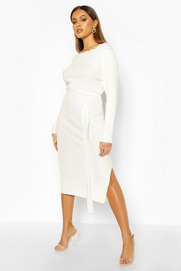 Cream Thick Rib Belted Midi Dress