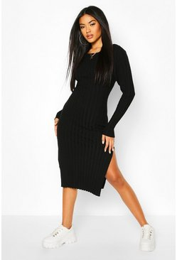 Black Thick Rib Midaxi Dress