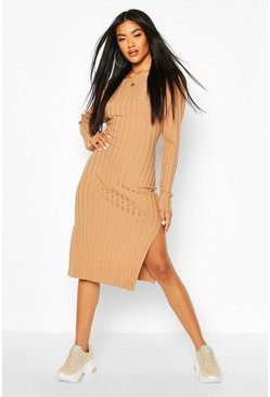 Camel Thick Rib Midaxi Dress