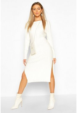 Cream Thick Rib Midaxi Dress