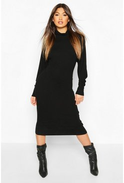 Black Roll Neck Knitted Midi Dress