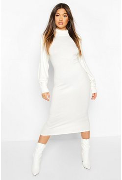 Cream Roll Neck Knitted Midi Dress
