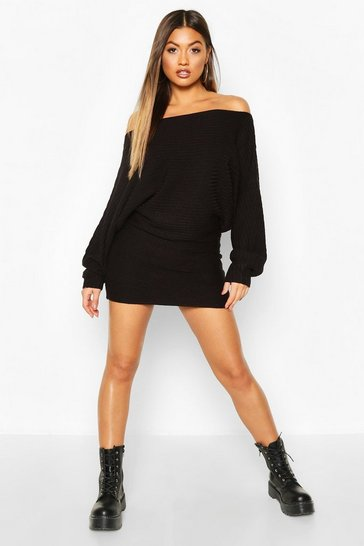 Black Ripple Stitch Batwing Knitted Dress
