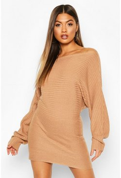 Womens Camel Ripple Stitch Batwing Knitted Dress