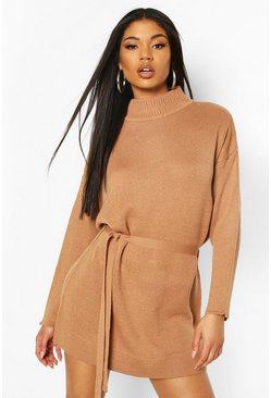 Camel Knitted Belted Dress