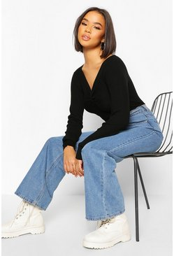 Black Twist Front Rib Cropped Sweater