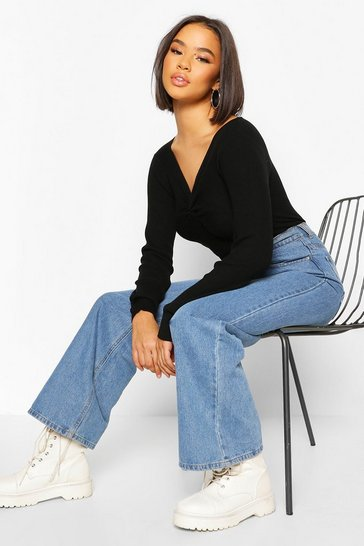 Black Twist front Rib Cropped Jumper