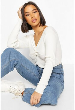 Cream Twist front Rib Cropped Jumper