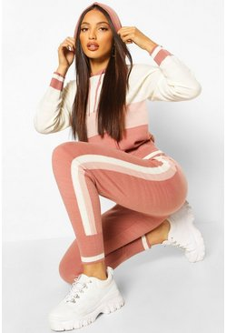 Blush Striped Colour Block Hooded Lounge Set