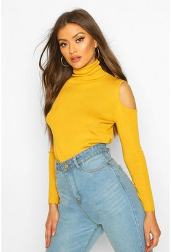 Mustard Cold Shoulder Polo Neck Knitted Top