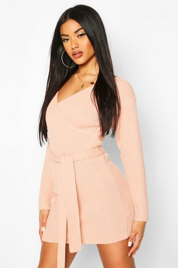 Blush Ribbed Wrap Belted Knitted Dress