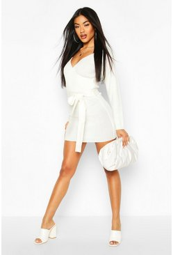 Womens Ivory Ribbed Wrap Belted Knitted Dress