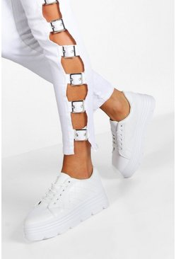 Dam White Cleated Sole Platform Trainers