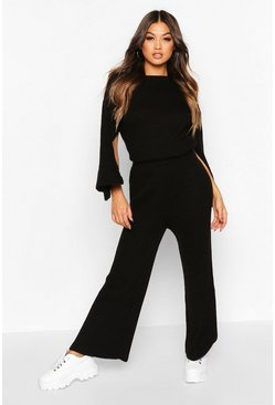 Womens Black Knitted Split Sleeve Wide Leg Set