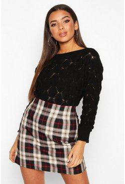 Black Bobble Knit Cropped Jumper