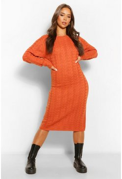 Tobacco Cable Knit Midi Dress
