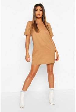 Camel Roll Sleeve T-Shirt Dress